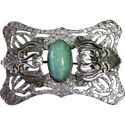 Art Nouveau Sash Ornament Brooch w Green Art Glass Cab