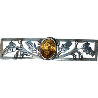 Arts & Crafts Handcrafted Sterling Pin w Citrine