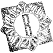 Art Deco Sterling & Sparkling Marcasite Initial R Pin