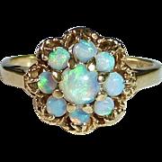 10k Opal Nine Stone Rosette Cluster Ring
