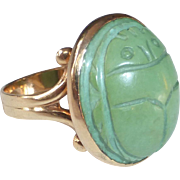 Egyptian Revival Art Deco 10k Carved Turquoise Scarab Ring