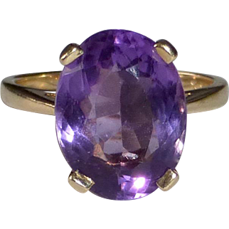14k Yellow Gold Faceted Amethyst Ring