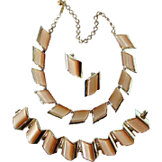 Charel 1950s Set Thermoset Moonglow Lucite Necklace Bracelet Earrings