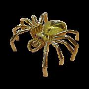 18k Yellow Gold Spider Sculptural Spider Pin
