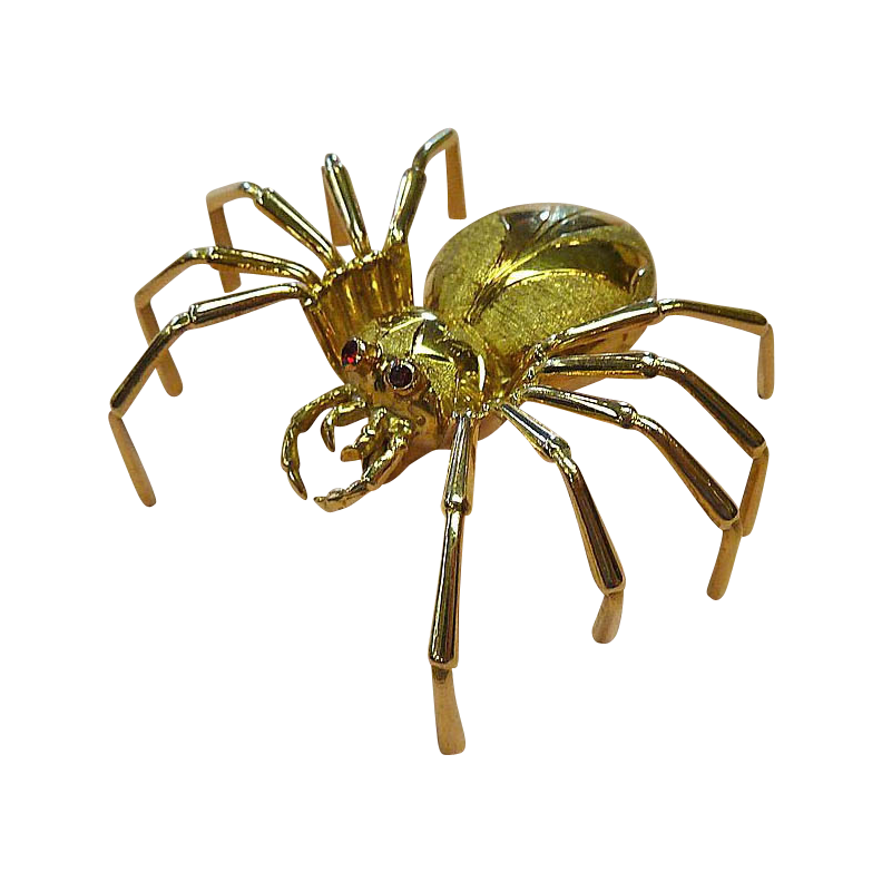 18k Yellow Gold Sculptural Spider Pin