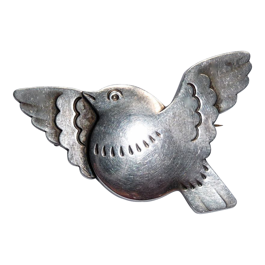 Georg Jensen Sterling Dove in Flight Bird Pin