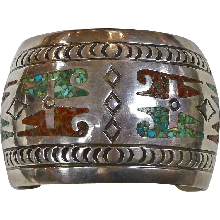 Native American Hefty Sterling Cuff Turquoise & Coral Inlay