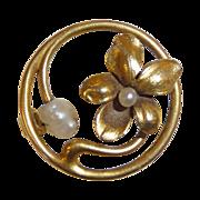 Victorian Art Nouveau 14k Floral & Pearl Pin