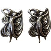 Art Nouveau Design Sterling Silver Dancing Women Earrings