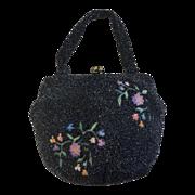 Walborg Vintage Embroidered Black Beaded Bag