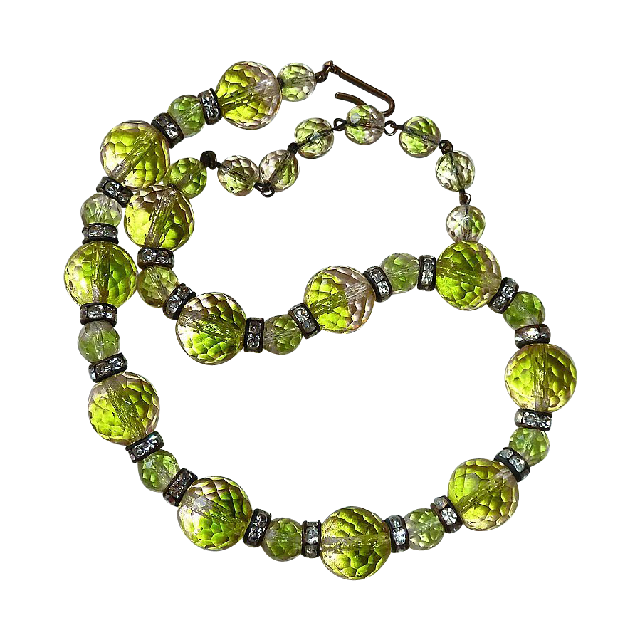 Rare Chartreuse & Peach Faceted Glass Bead Necklace w Rhinestones