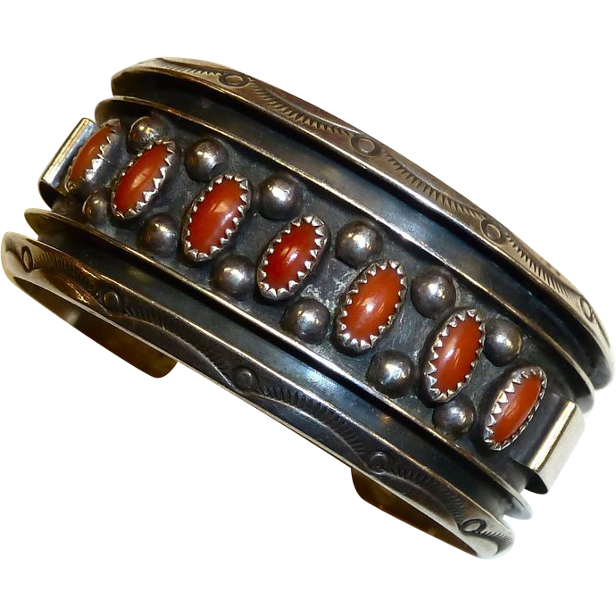 Native American Navajo JS Sterling Cuff Bracelet w Coral