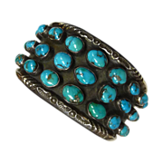 Native American Sterling Turquoise Wide Cuff Bracelet