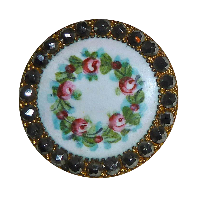 Victorian Enamel Button Wreath of Roses Cut Steel Border