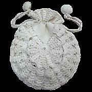 Vintage Lacy Crochet White Linen Drawstring Purse