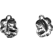 Georg Jensen Sterling Curled Grape Leaf Clip Earrings