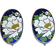 Chinese Sterling Enamel Chrysanthemum Earrings