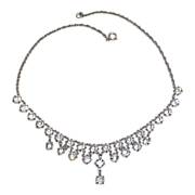 Sparkling Vintage Cut Crystal Fringe Necklace