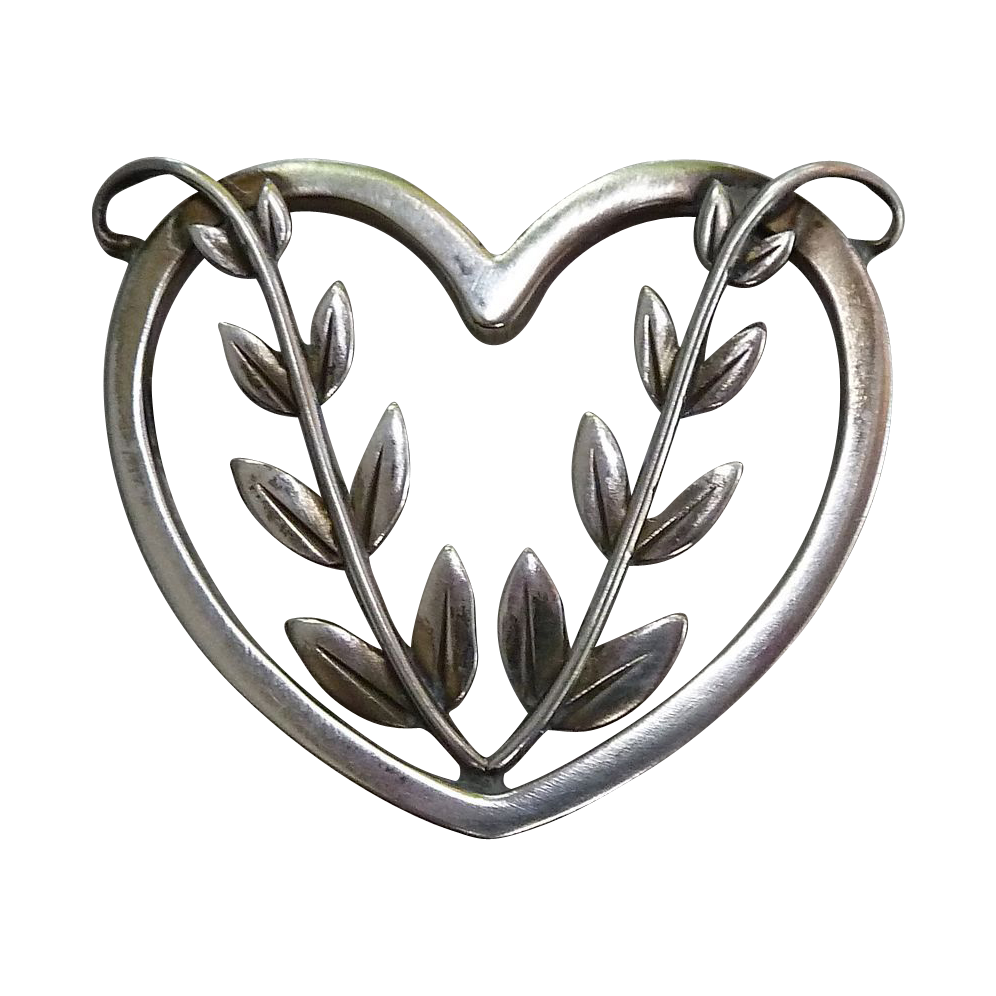 Georg Jensen Sterling Heart & Vine Pin 242B