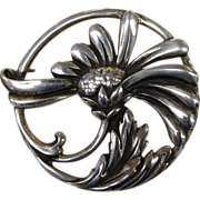 Viking Craft Art Deco Sterling Daisy Pin