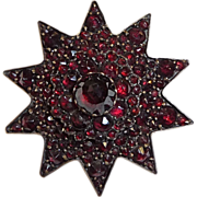 Antique Victorian Rose Cut Garnet Star Pin