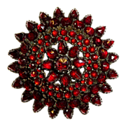 Victorian Rose Cut Bohemian Garnet Dome Gilt Sterling Pin