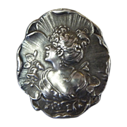 Antique Art Nouveau Gibson Girl Sterling Pin