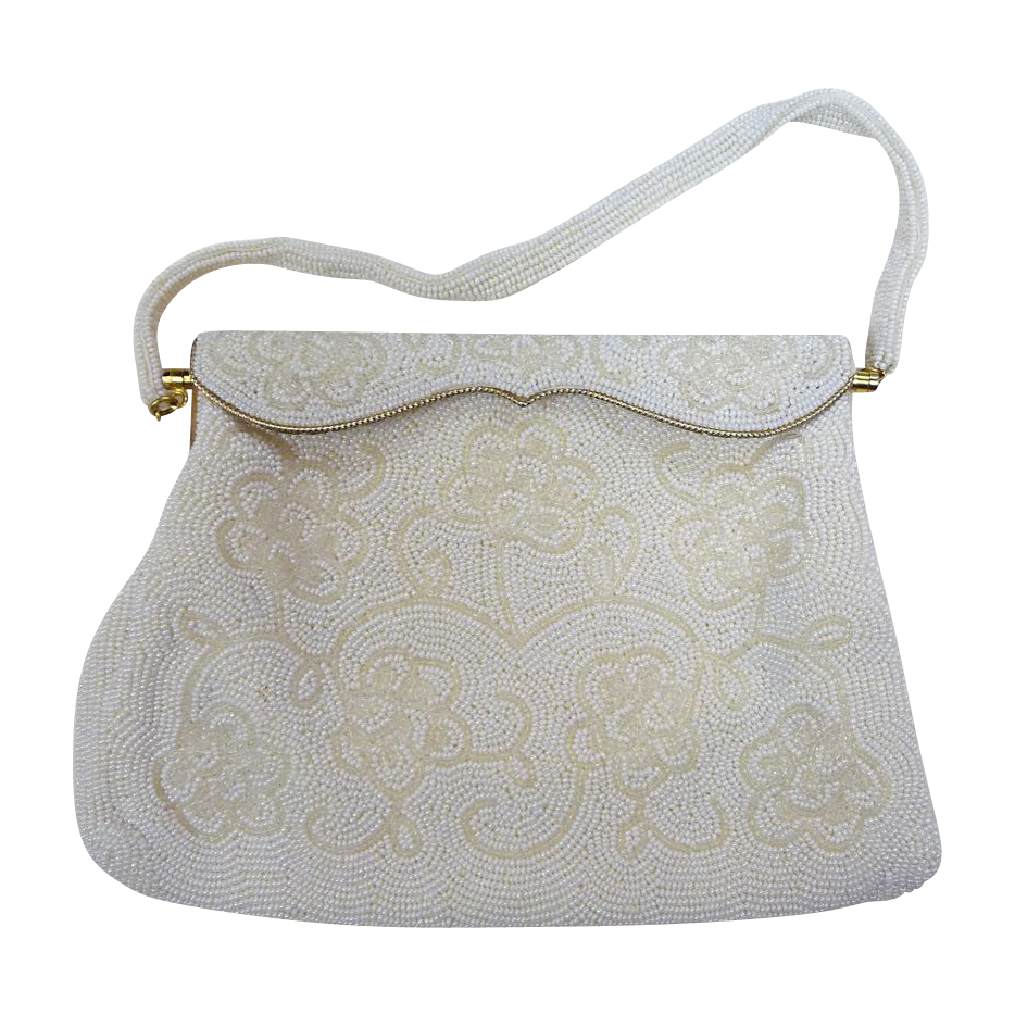 Vintage White Floral Design Beaded Purse c1960s