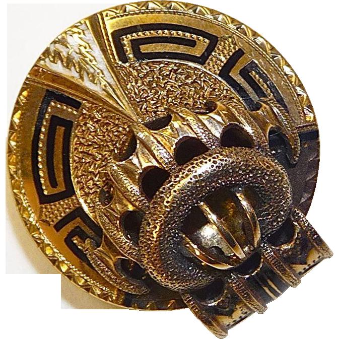 Antique Victorian 10k Gold Black & White Enamel
