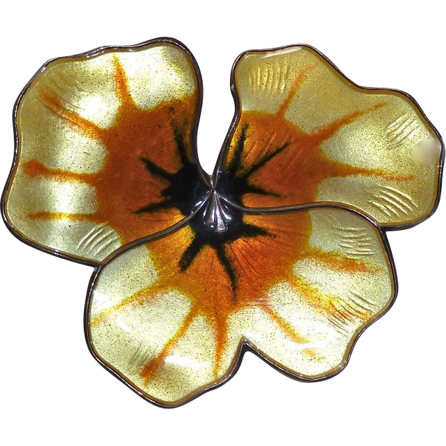 David Andersen Norway Sterling Enamel Pansy Pin