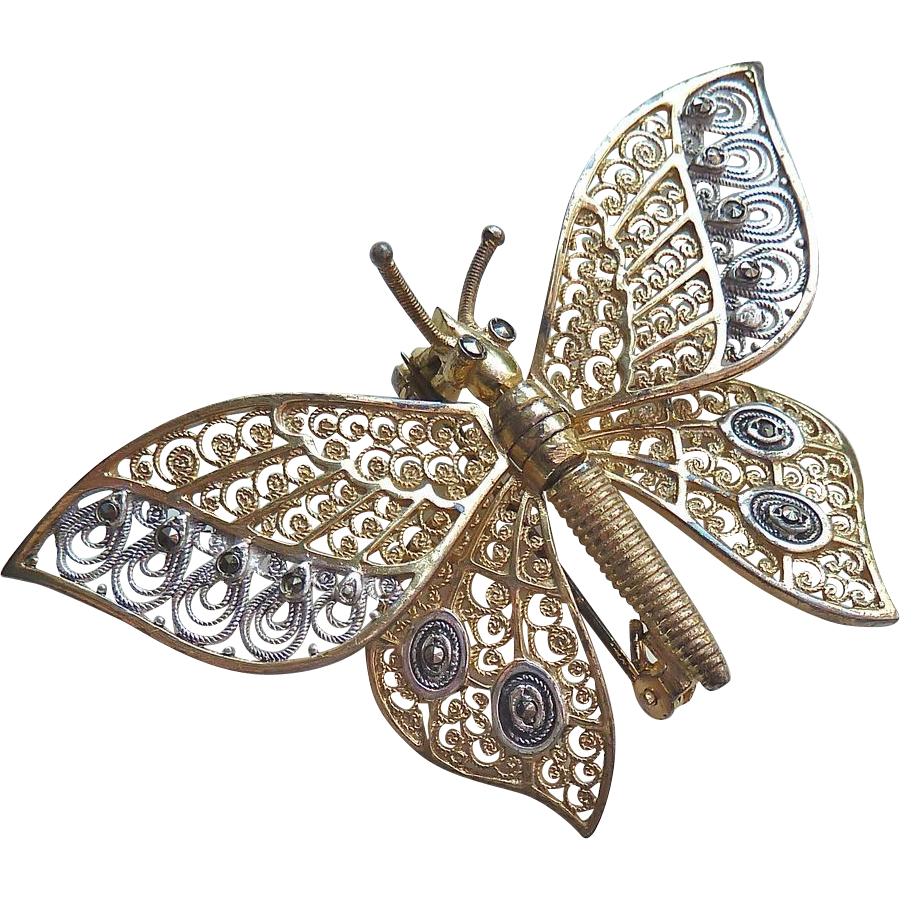 Alice Caviness Sterling Filigree Marcasite Kinetic Butterfly Pin