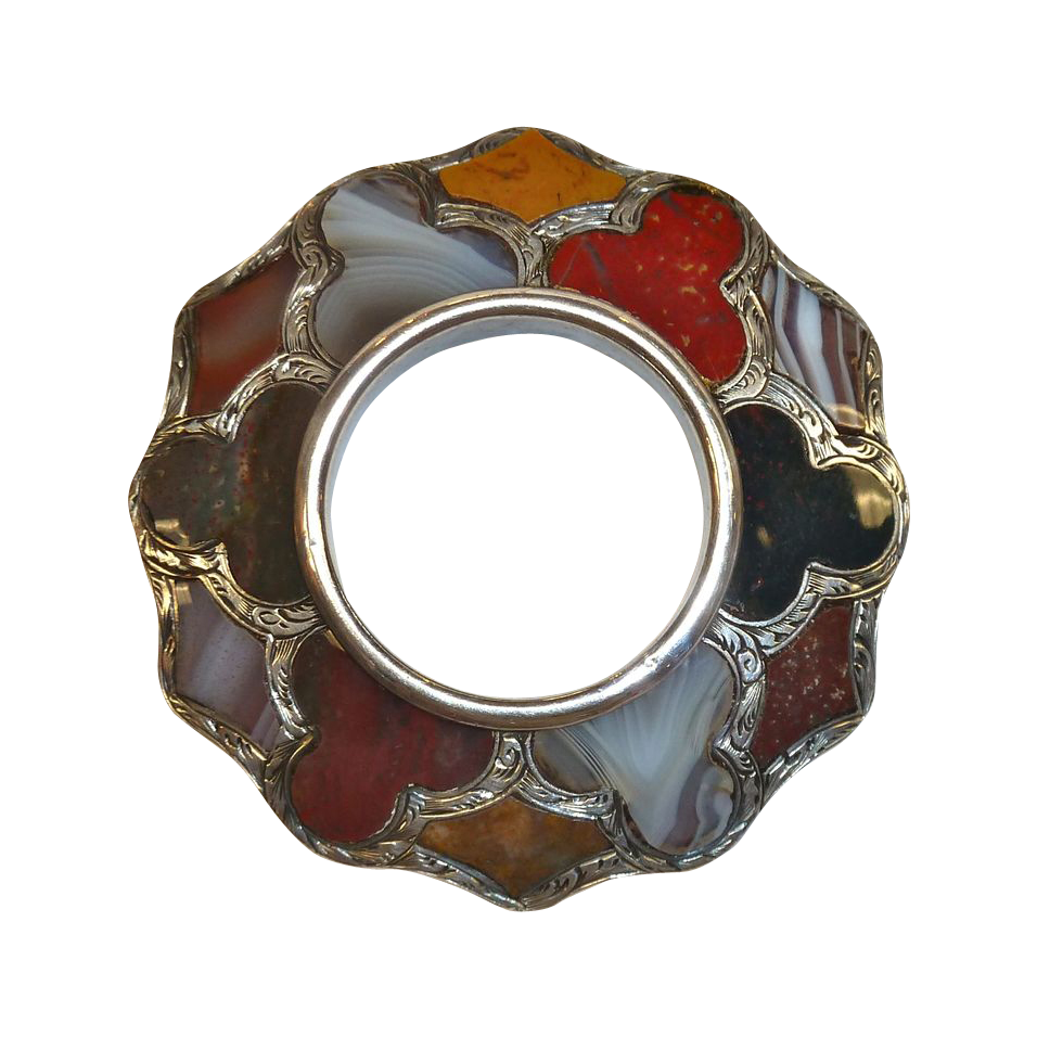 Antique Sterling Scottish Agate Brooch Pin C1860 From