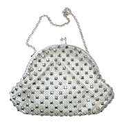White Satin Evening Purse w Silver Net & Jewels