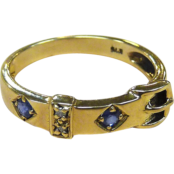 Sapphires & Diamonds 9k YG Belt Buckle Ring