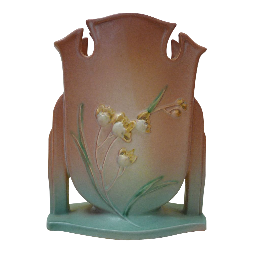 Gorgeous roseville pottery ixia pattern vase c1930s from for Pottery patterns