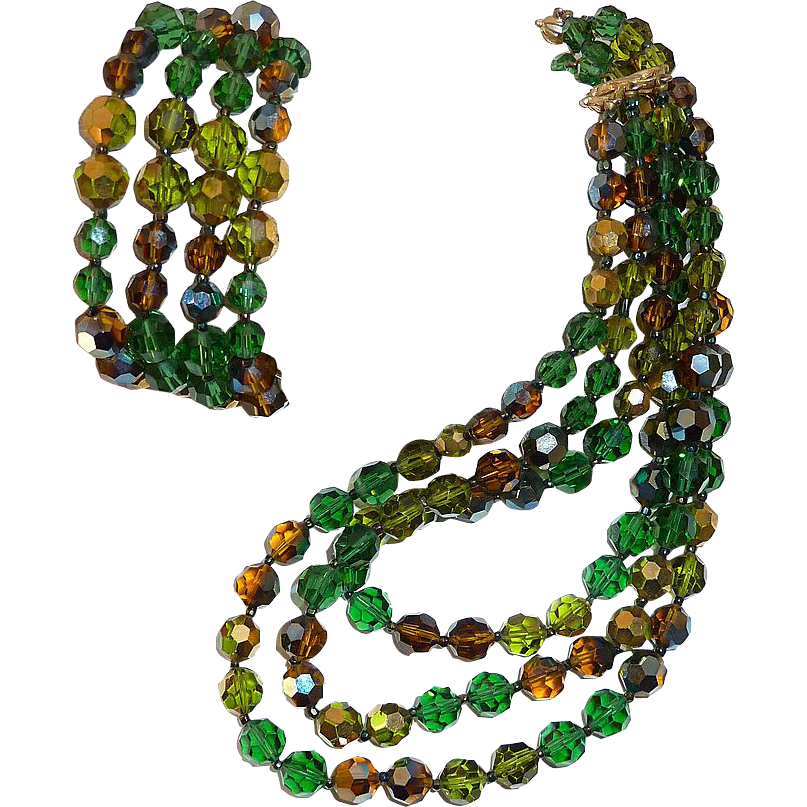 Marvella Bead Necklace & Bracelet Set Shades of Green & Amber