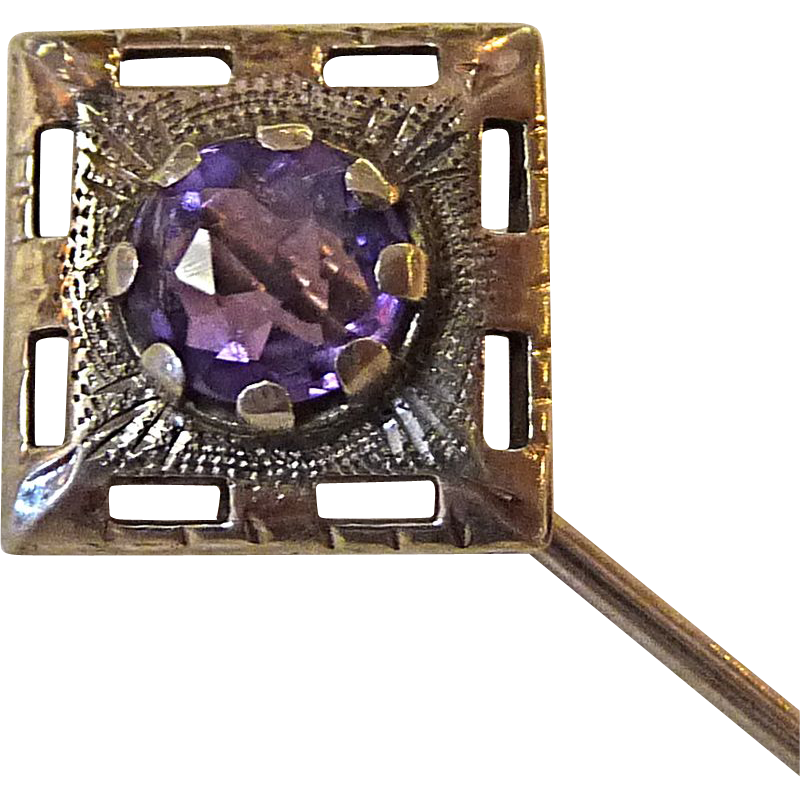 Antique Platinum Amethyst & 10k Stickpin