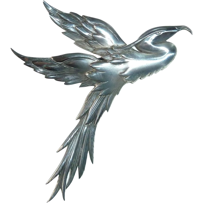 Fabulous Danecraft Large Sterling Silver Heron Pin