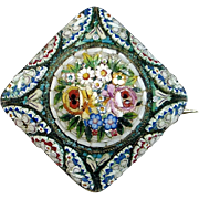 Antique Victorian 800 Silver Floral Micro Mosaic Pin