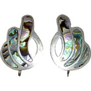 Mexican Sterling & Abalone Inlay Art Deco Earrings