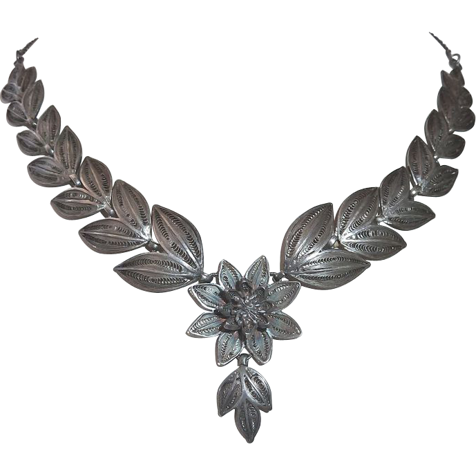 Fine Sterling Antique Filigree Cascading Leaf & Flower Necklace