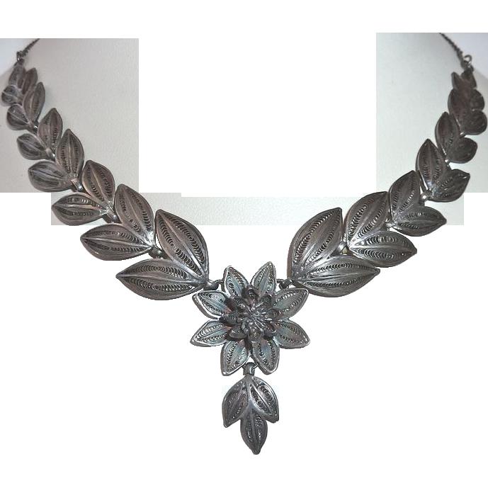 Fine Sterling Antique Filigree Cascading Leaf & Flower Necklace