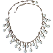 Art Deco Milk Glass Swirl Bead Fringe Necklace