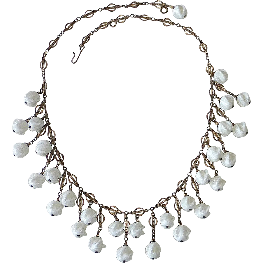 Art Deco Milk Glass Swirl Bead Fringe Necklace