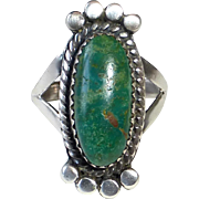 Native American Sterling & Green Turquoise Ring