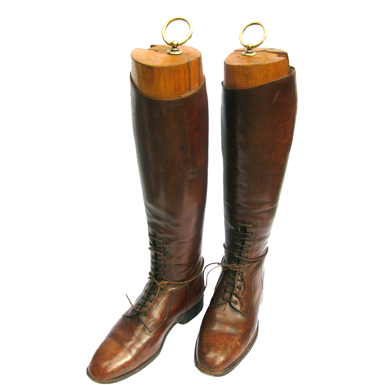 English Equestrian Riding Boots with Trees / Stretchers - Vintage ...
