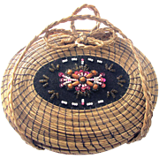 Fancy Vintage Native American Sweetgrass Basket - Beaded Hinged Cover
