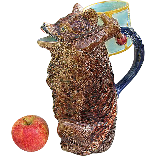 English Majolica Bear with Drum Figural Pitcher - Holdcroft - Largest Size - Mint Condition
