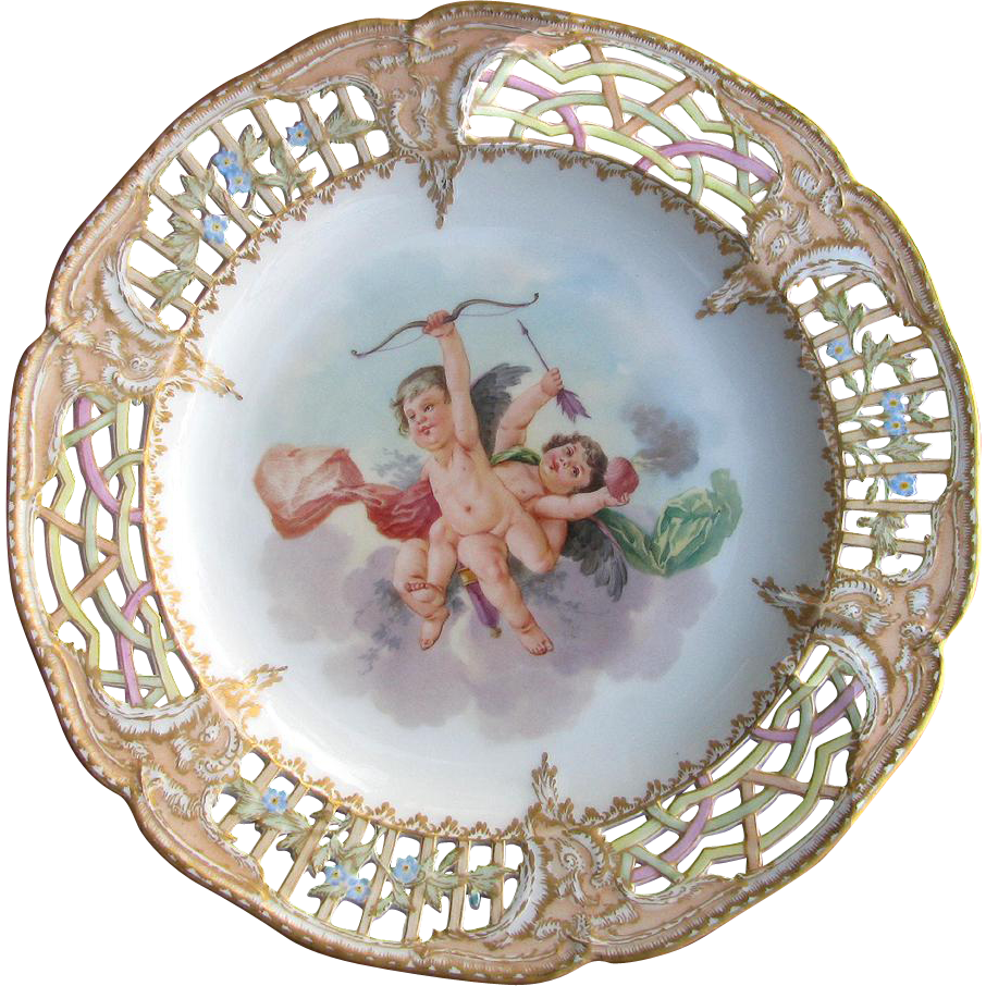 Antique Porcelain Cupid Plate with Elaborate Reticulated Gilded Peach Border