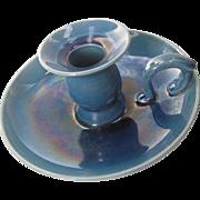 Awaji Chamber Stick - Teal Blue Awaji Pottery Candle Stick c1920